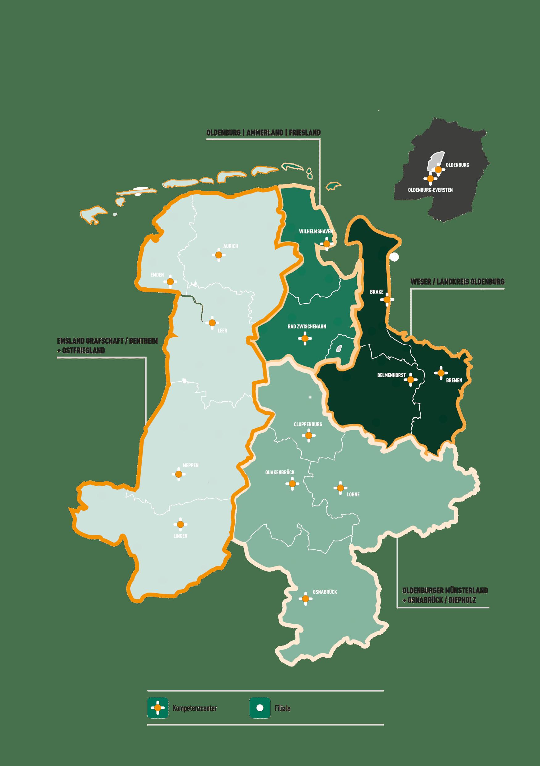 karte der olb regionen - Bewerbung Ausbildung Bankkauffrau
